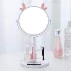 鹿角化妆镜 单面公主镜 圆底款 白色 15*31cm