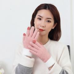 冬季羊绒加厚触屏针织保暖手套 粉色 均码