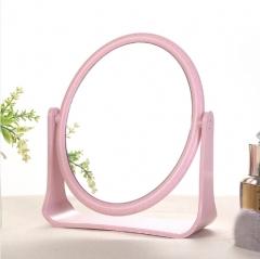 欧式简约麦秆双面化妆镜-圆形 60/箱 圆形粉色 16*5*19cm