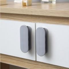 2个装门窗橱柜门拉手衣柜冰箱门把手400/箱 灰色 3*2*9cm