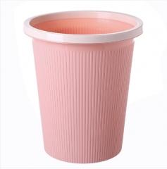素色条纹圆形垃圾桶塑料无盖垃圾桶 大号 60个/箱  27*31*19cm 粉色 27*31*19c