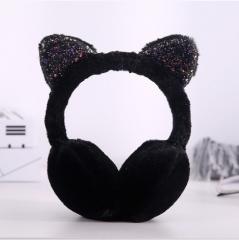 亮片猫儿折叠耳罩 黑色 见详情