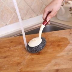 厨房用清洁长柄刷锅神器 钢丝球洗锅刷 200/箱 25*10cm 红色手柄 25*10cm