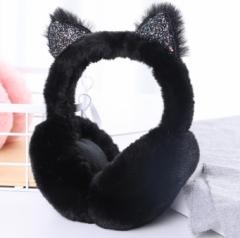 折叠亮片猫儿耳罩 120/箱 黑色 见详情