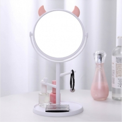 小怪兽化妆镜 单面公主镜 圆底款 白色 如图