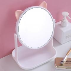 猫耳化妆镜方底座带支架F528-1  48/箱 白色 见详情