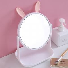 兔耳化妆镜方底座带支架F528-3  48/箱 白色 见详情