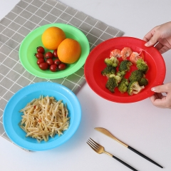彩色塑料菜盘混色22cm