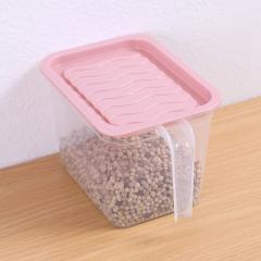 冰箱透明收纳盒带柄密封罐 小号粉色 见详情