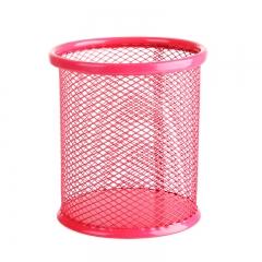 彩色镂空多功能铁艺笔筒 圆形红色 9*10cm(直径*高)