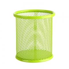 彩色镂空多功能铁艺笔筒 圆形绿色 9*10cm(直径*高)