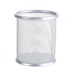 彩色镂空多功能铁艺笔筒 圆形银色 9*10cm(直径*高)